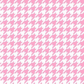 Half Inch Carnation Pink and White Houndstooth Check