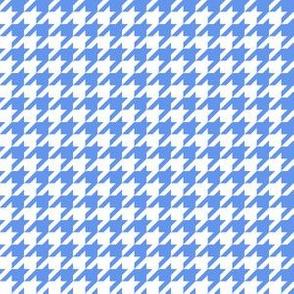 Half Inch Cornflower Blue and White Houndstooth Check