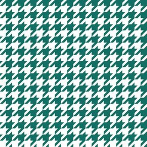 Half Inch Cyan Turquoise Blue and White Houndstooth Check