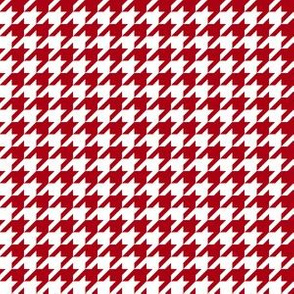 Half Inch Dark Red and White Houndstooth Check
