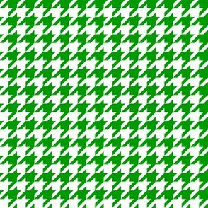 Half Inch Christmas Green and White Houndstooth Check
