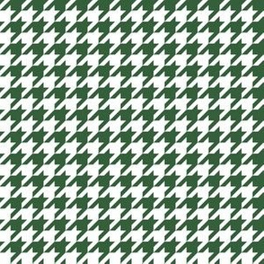 Half Inch Hunter Green and White Houndstooth Check