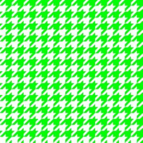 Half Inch Lime Green and White Houndstooth Check