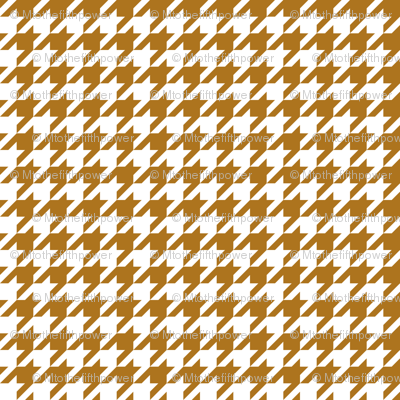 Half Inch Matte Antique Gold and White Houndstooth Check