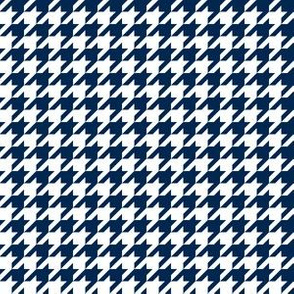 Half Inch Navy Blue and White Houndstooth Check