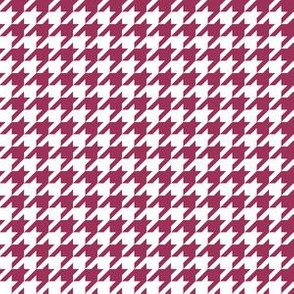 Half Inch Sangria Pink and White Houndstooth Check