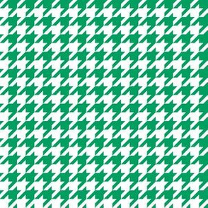 Half Inch Shamrock Green and White Houndstooth Check