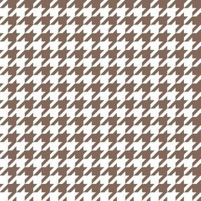 Half Inch Taupe Brown and White Houndstooth Check