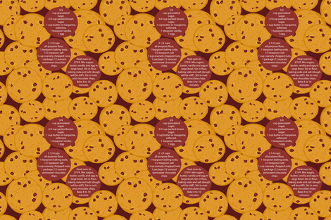 Chocolate chip cookie,  Family Recipes fabric by ekaterinap on Spoonflower - custom fabric