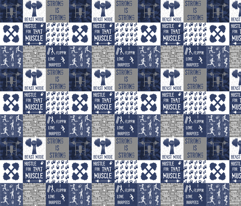 Navy Crossfit Cheater 4 inch squares fabric by lub_by_lamb on Spoonflower - custom fabric