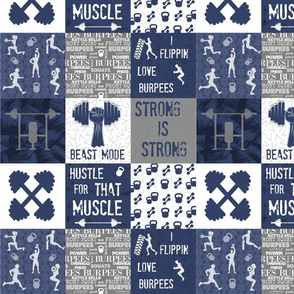 Navy Crossfit Cheater 4 inch squares