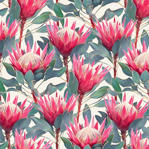 Painted King Proteas - hot pink on cream MEDIUM