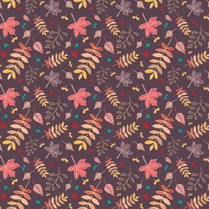 Autumn leaves pattern with reddish brown background