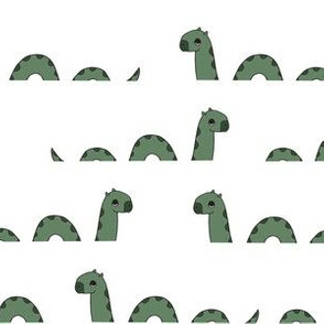 nessie fabric // loch ness monster design cute kids funny character design - green