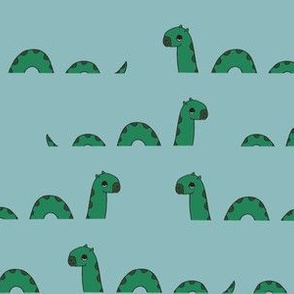 nessie fabric // loch ness monster design cute kids funny character design - blue and green