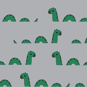 nessie fabric // loch ness monster design cute kids funny character design -  grey and green