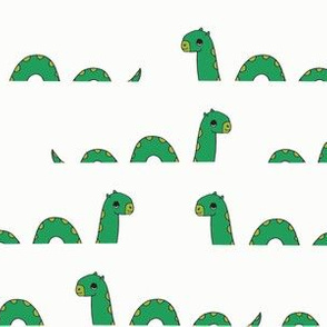 nessie fabric // loch ness monster design cute kids funny character design - green off-white