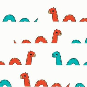 nessie fabric // loch ness monster design cute kids funny character design - blue and red