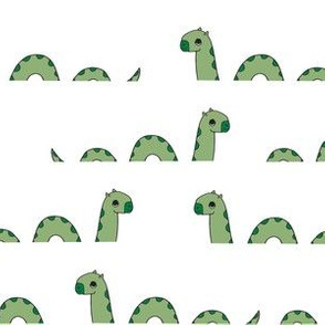 nessie fabric // loch ness monster design cute kids funny character design - light green