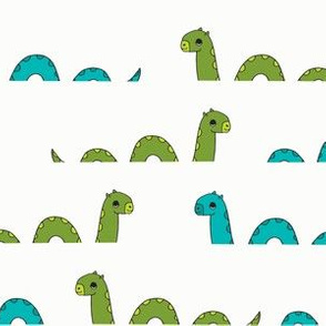 nessie fabric // loch ness monster design cute kids funny character design - green and turquoise