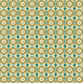 Geometric Arts and Crafts Style in Teal, Olive and Yellow Ochre, Edwardian Style