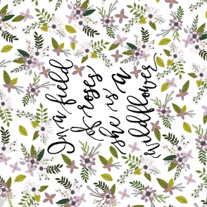 lavender sprigs and blooms // in a field of roses, she is a wildflower // crib sheet