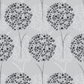 Gray Tree Watercolor || Abstract spots drops dots whimsical low volume black white _ Miss Chiff Designs