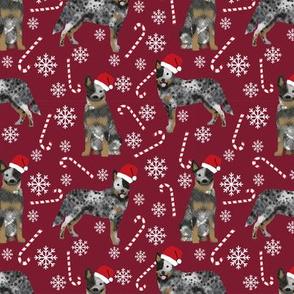 Australian Cattle Dog blue heeler dog breed christmas peppermint sticks candy canes fabric ruby