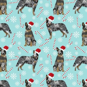 Australian Cattle Dog blue heeler dog breed christmas peppermint sticks candy canes fabric icy blue