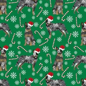 Australian Cattle Dog blue heeler dog breed christmas peppermint sticks candy canes fabric green
