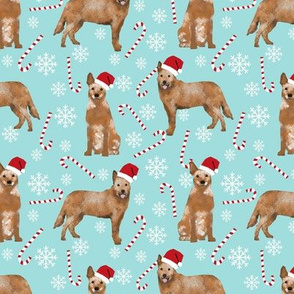 Australian Cattle Dog red heeler dog breed christmas peppermint sticks candy canes fabric icy blue