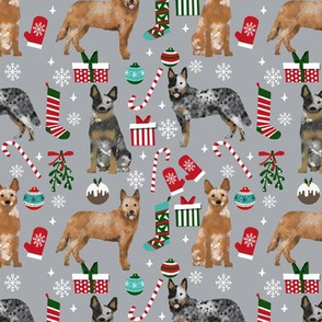 Australian Cattle Dog red and blue heeler dog breed christmas peppermint sticks presents snowflakes fabric grey