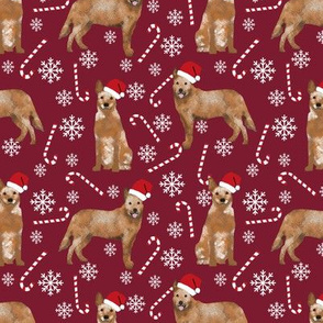 Australian Cattle Dog red heeler dog breed christmas peppermint sticks candy canes fabric ruby