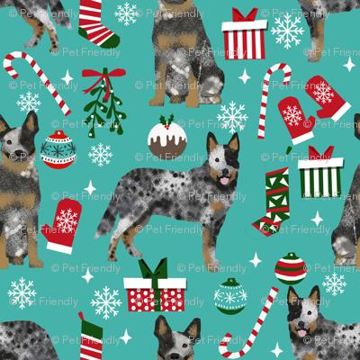Australian Cattle Dog blue heeler dog breed christmas peppermint sticks presents snowflakes fabric blue