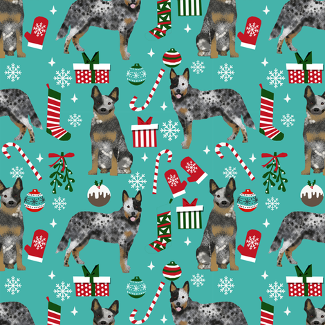 Australian Cattle Dog blue heeler dog breed christmas peppermint sticks presents snowflakes fabric blue fabric by petfriendly on Spoonflower - custom fabric