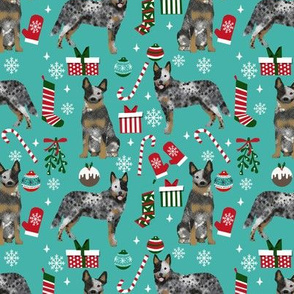 Australian Cattle Dog blue heeler dog breed christmas peppermint sticks presents snowflakes fabric blue