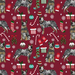 Australian Cattle Dog blue heeler dog breed christmas presents  candy canes snowflakes fabric ruby