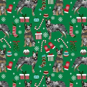 Australian Cattle Dog blue heeler dog breed christmas presents  candy canes snowflakes fabric green