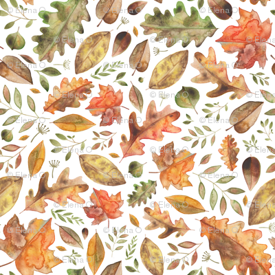 Watercolour Autumn Leaves With Fronds!