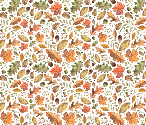 Watercolour Autumn Leaves With Fronds! fabric by elena_o'neill_illustration_ on Spoonflower - custom fabric