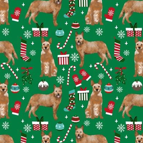 Australian Cattle Dog red heeler dog breed christmas presents  candy canes snowflakes fabric green