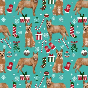 Australian Cattle Dog red heeler dog breed christmas presents  candy canes snowflakes fabric turquoise