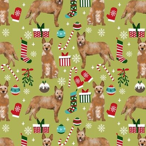 Australian Cattle Dog red heeler dog breed christmas presents  candy canes snowflakes fabric mustard