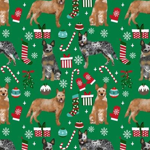 Australian Cattle Dog red and blue heeler dog breed christmas presents  candy canes snowflakes fabric green