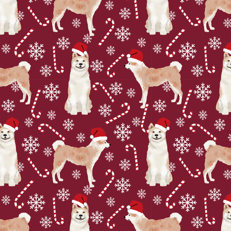 Akita dog breed christmas peppermint sticks candy canes fabric ruby fabric by petfriendly on Spoonflower - custom fabric