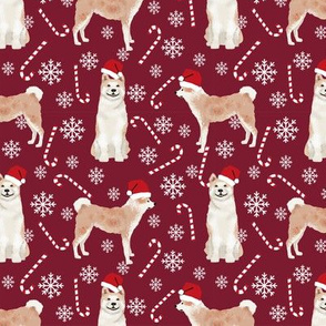 Akita dog breed christmas peppermint sticks candy canes fabric ruby