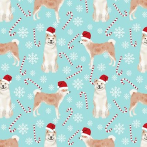 Akita dog breed christmas peppermint sticks candy canes fabric icy blue