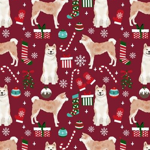 Akita dog breed christmas presents  candy canes snowflakes fabric ruby