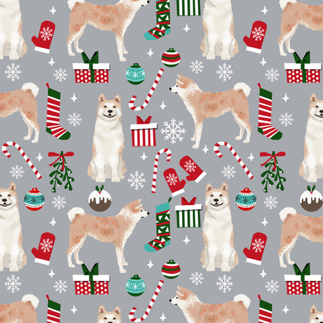 Akita dog breed christmas presents  candy canes snowflakes fabric grey fabric by petfriendly on Spoonflower - custom fabric
