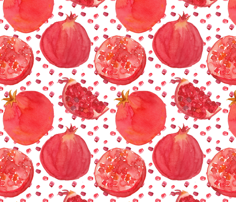 Painted Pomegranates fabric by countrygarden on Spoonflower - custom fabric